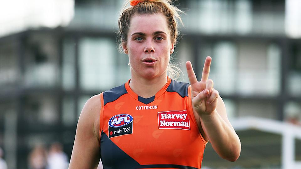 Jacinda Barclay, pictured here in action for GWS in the AFLW.