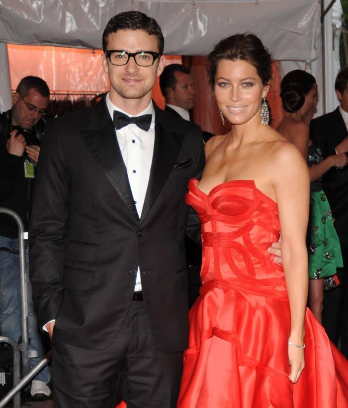 Justin Timberlake and Jessica Biel on the red carpet for an event