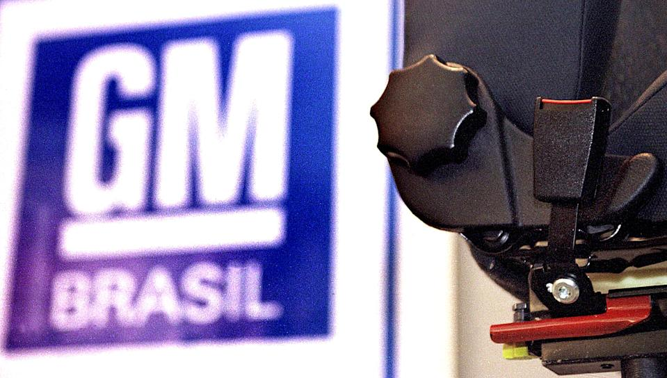 SAO PAULO, BRAZIL - OCTOBER 16:  The seat of the automobile Corsa model, produced by General Motors, is seen with a red piece of anchorage of the lap belt 16 October 2000 during
