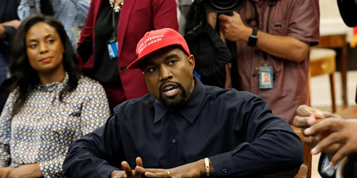 Rapper Kanye West speaks during a meeting with U.S. President Donald Trump and others to discuss criminal justice reform at the White House in Washington, U.S., October 11, 2018. REUTERS/Kevin Lamarque