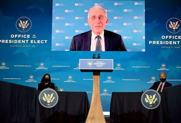 PHOTO: Anthony Fauci, who has been nominated by President-elect Joe Biden to serve as chief medical adviser on Covid-19, speaks on screen after Biden announced his team is tasked with dealing with the Covid-19 pandemic, on Dec. 8, 2020 in Wilmington, Del. (Jim Watson/AFP via Getty Images)