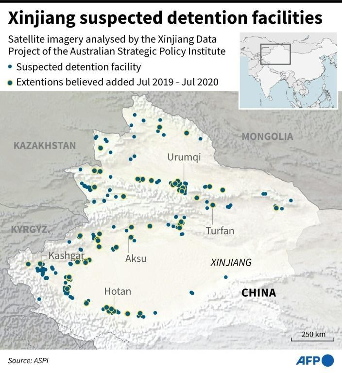 Xinjiang suspected detention facilities