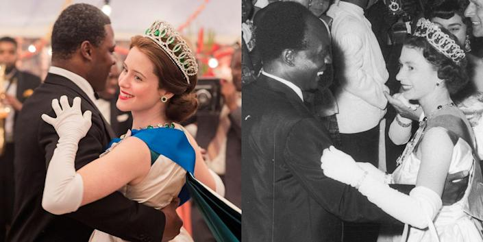 <p>Claire Foy plays Queen Elizabeth II in the first two seasons of <em>The Crown</em>. From perfecting the queen's accent to mirroring veritable fashion and political moments (like this dance with Ghanaian president Kwame Nkrumah during a royal visit in 1961), Claire has captured the essence of the monarch with grace and strength. </p>