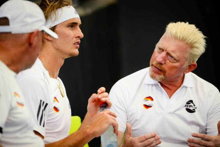 Alexander Zverev (2nd L) used to be coached by German legend Boris Becker (R)