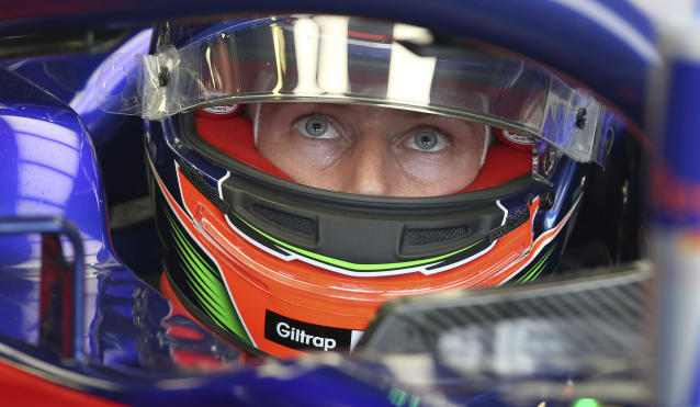 Toro Rosso driver Brendon Hartley of New Zealand prepares to go onto the track during the practice session at the Australian Formula One Grand Prix in Melbourne, Saturday, March 24, 2018. The first race of the 2018 seasons is on Sunday. (AP Photo/Rick Rycroft)