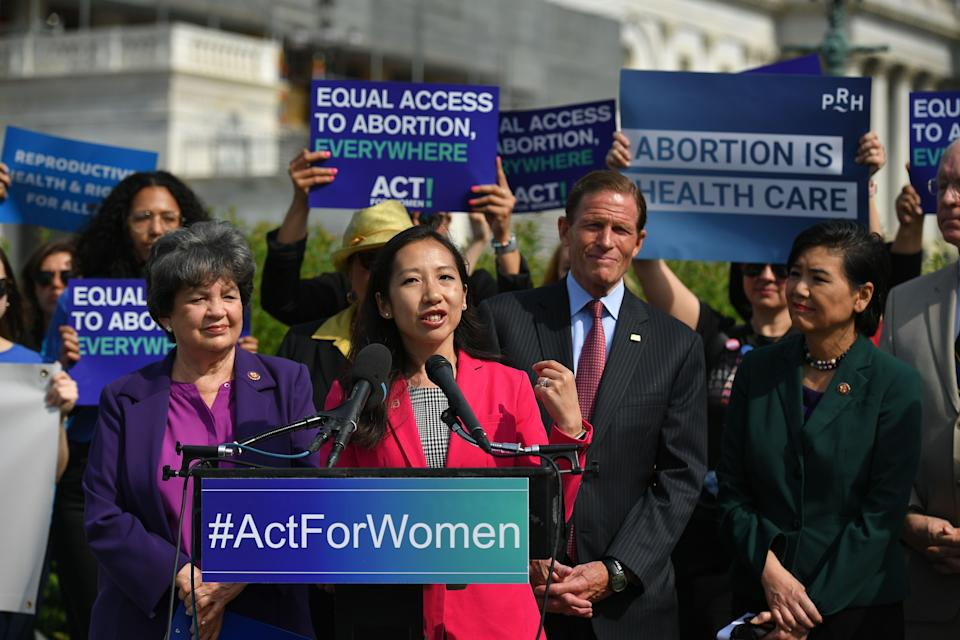 """Leana Wen, President of Planned Parenthood, speaks during a press conference on the reintroduction of the """"Women's Health Protection Act at the House Triangle of the US Capitol in Washington, DC, on May 23, 2019. (Photo by MANDEL NGAN / AFP)        (Photo credit should read MANDEL NGAN/AFP/Getty Images)"""