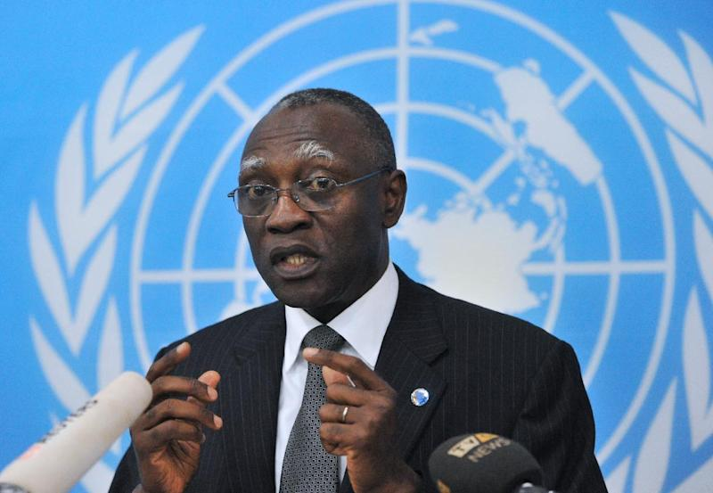 General Babacar Gaye, the United Nations secretary general's representative to Central African Republic, speaks on February 6, 2014 in Bangui