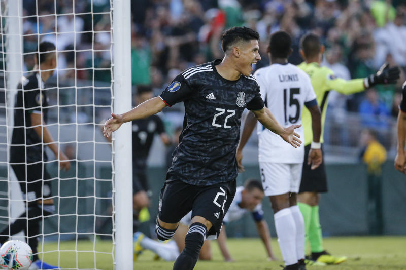 Mexico defender Jorge Snchez (22) celebrates his goal against Cuba during the first half of a CONCACAF Gold Cup soccer match in Pasadena, Calif., Saturday, June 15, 2019. (AP Photo/Ringo H.W. Chiu)