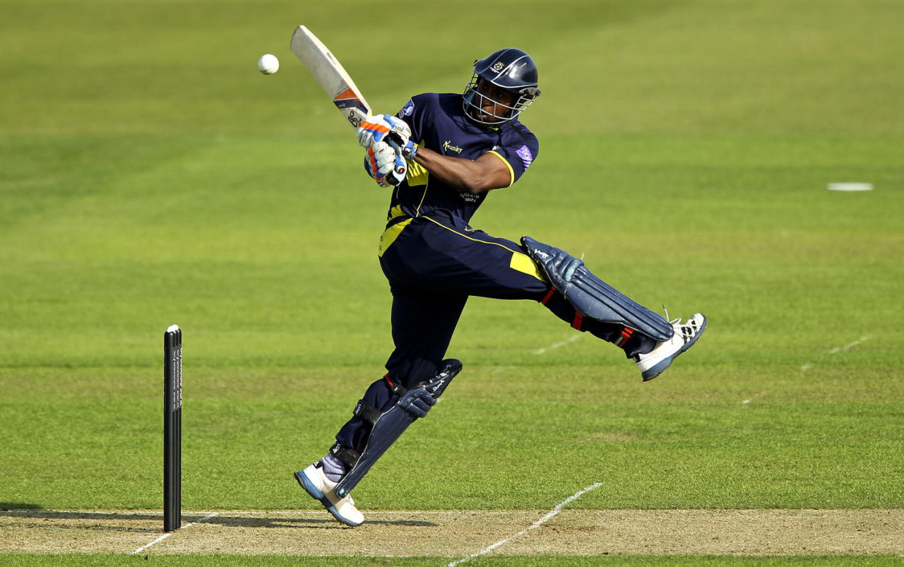 SOUTHAMPTON, ENGLAND - MAY 19: Michael Carberry of Hamshire hits out during the Yorkshire Bank 40 match between Hampshire and Durham at the Ageas Bowl on May 19, 2013 in Southampton, England. (Photo by Ben Hoskins/Getty Images)