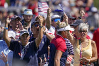 Fans cheer for United States' Lexi Thompson on the 11th hole during the singles matches at the Solheim Cup golf tournament, Monday, Sept. 6, 2021, in Toledo, Ohio. (AP Photo/Carlos Osorio)