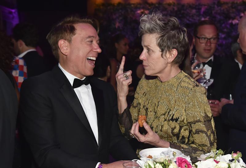 Frances McDormand chats with talent agent Kevin Huvane at the Vanity Fair Oscar Party. (Kevin Mazur/VF18 via Getty Images)