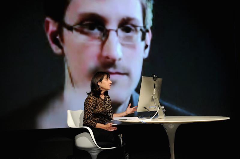 attends Edward Snowden Interviewed by Jane Mayer at the MasterCard stage at SVA Theatre during The New Yorker Festival 2014 on October 11, 2014 in New York City.