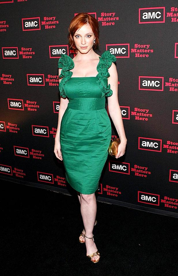 """Mad Men"" vixen Christina Hendricks channeled Old Hollywood in a ruffled Catherine Malandrino masterpiece and strappy gold sandals at a recent cocktail reception for her hit show. Jesse Grant/<a href=""http://www.wireimage.com"" target=""new"">WireImage.com</a> - July 28, 2009"