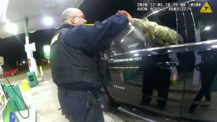 U.S. Army 2nd Lieutenant Caron Nazario is sprayed at a gas station during violent traffic stop in Windsor