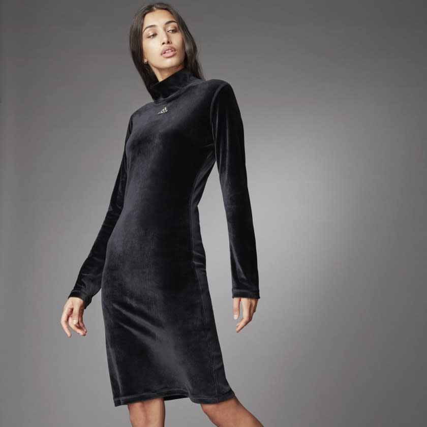 Turtleneck Velour Dress. Image via adidas.
