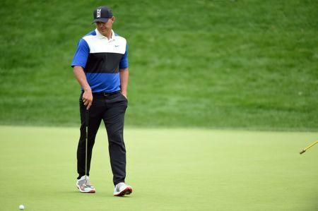 May 19, 2019; Bethpage, NY, USA; Brooks Koepka reacts on the 14th green during the final round of the PGA Championship golf tournament at Bethpage State Park - Black Course. Mandatory Credit: John David Mercer-USA TODAY Sports