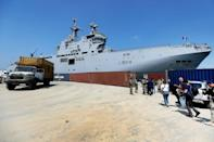 French Navy helicopter carrier Tonnerre delivered food and construction materials to Beirut on Friday