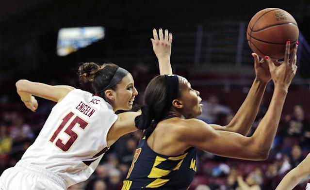 Maryland center Alicia DeVaughn, right, grabs the ball as she gets past Boston College guard Lauren Engeln (15) on a drive to the basket during the first half of an NCAA college basketball game, Thursday, Feb. 27, 2014, in Boston. (AP Photo/Charles Krupa)