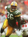 FILE - In this Jan. 4, 1998 file photo, Green Bay Packers strong safety LeRoy Butler moves in against the Tampa Bay Buccaneers during the NFC Divisional Playoffs in Green Bay, Wis. Butler was selected as a finalist for the Pro Football Hall of Fame's class of 2021 on Tuesday, Jan. 5, 2021 (.AP Photo/Charles Krupa, File)