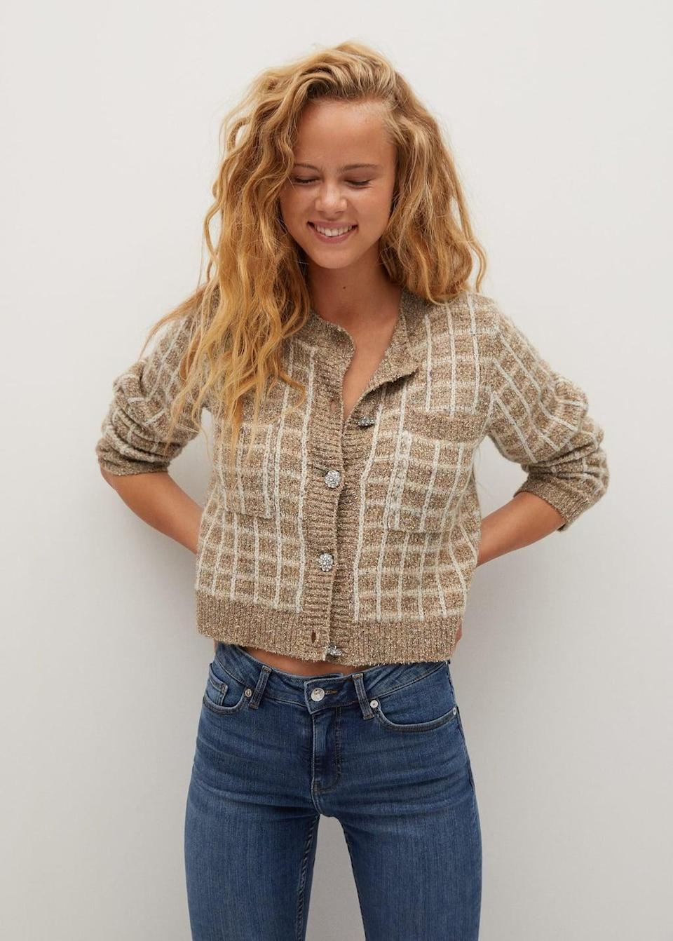 <p>I can't resist an embellished <span>Check tweed cardigan</span> ($80).</p>