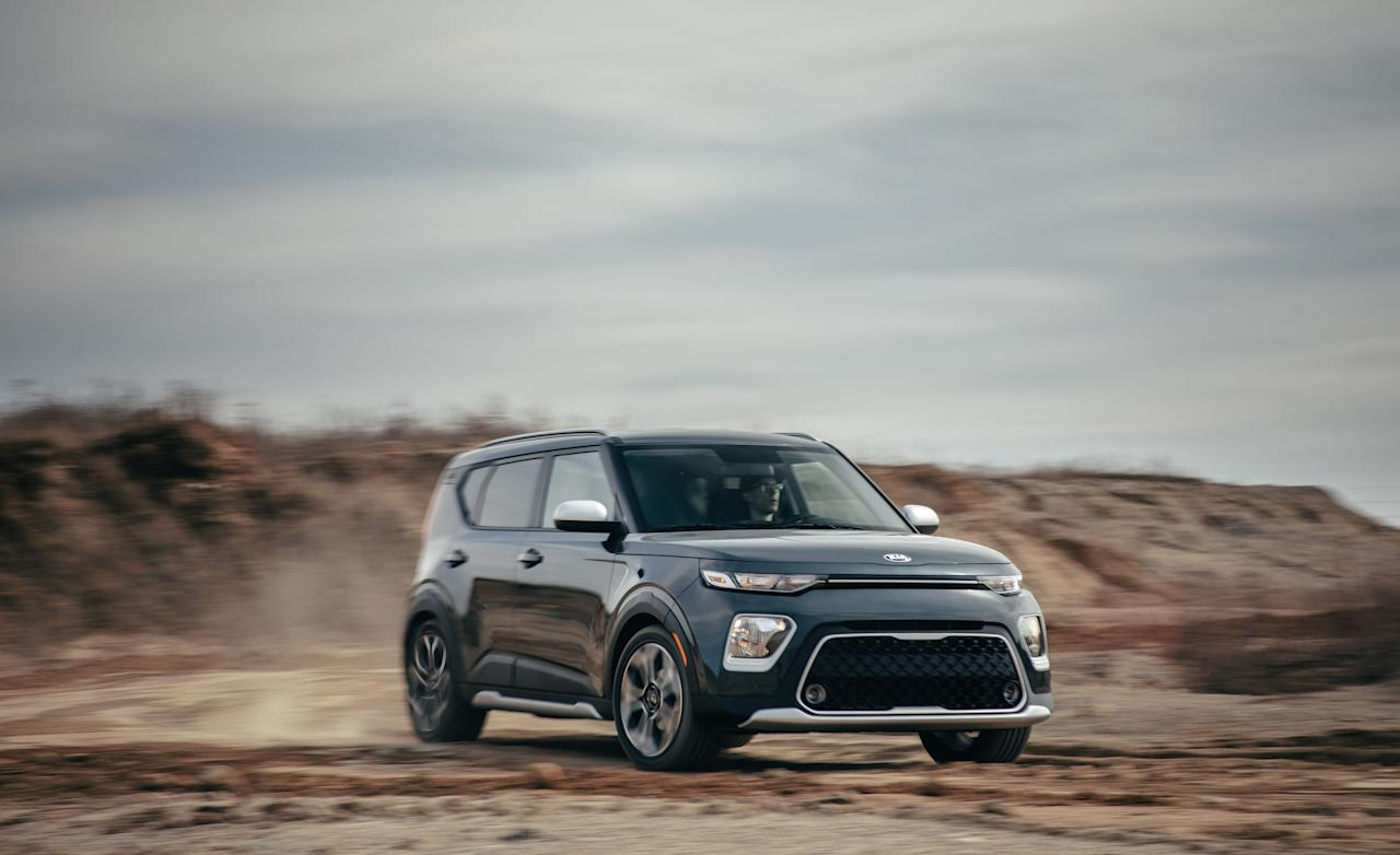 "<p><strong></strong></p><p>caranddriver.com</p><p><a href=""https://www.caranddriver.com/kia/soul"" target=""_blank"">Learn More</a></p><p>The bold and boxy Kia Soul has been charming SUV shoppers for a while now, and this latest version is no different. The base engine is a 147-hp four-cylinder, but GT-Line models come with a hot 201-horsepower turbocharged four. Inside the square-shaped body, the Soul offers two rows of spacious seating, plus room in the back for cargo. Like the exterior design, the cabin is sprinkled with cheeky design details and can be optioned with fun ambient lighting elements and plenty of tech; touchscreen infotainment with Apple CarPlay and Android Auto is standard while a smartphone charging pad and a head-up display are both optional.</p>"
