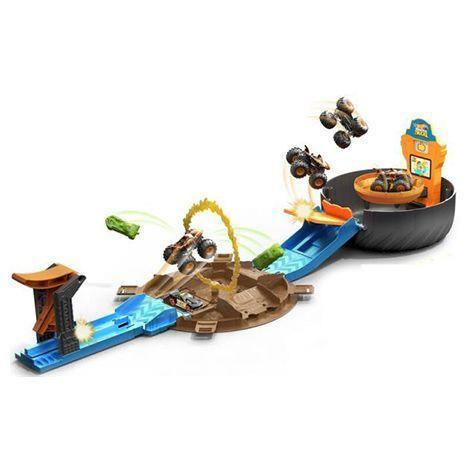 "<p><strong>Hot Wheels</strong></p><p>amazon.com</p><p><a href=""https://www.amazon.com/dp/B08J4GL3LQ?tag=syn-yahoo-20&ascsubtag=%5Bartid%7C10055.g.35901260%5Bsrc%7Cyahoo-us"" rel=""nofollow noopener"" target=""_blank"" data-ylk=""slk:Shop Now"" class=""link rapid-noclick-resp"">Shop Now</a></p><p>This track is large enough to launch either a Hot Wheels Monster Truck, or two regular Hot Wheels cars, and send them off and crashing through a ""ring of fire."" When it's not in use, it folds up into a case with a handle for easy portability. It also comes with the Tiger Shark monster truck and a Hot Wheels 1:64 scale vehicle.</p><p><em>Ages 4+<br>$20<br>Spring 2021</em></p>"