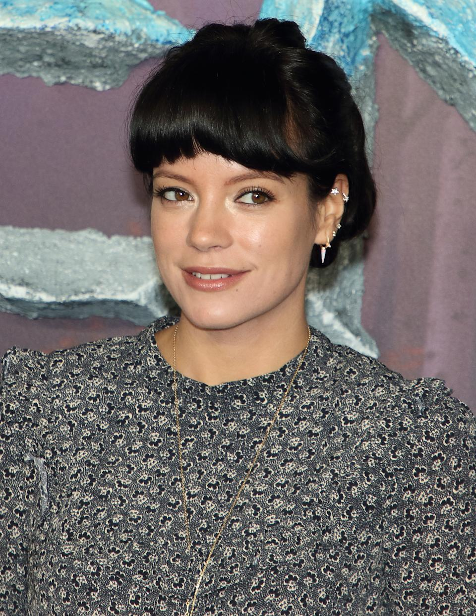 """Lily Allen attends the """"Frozen 2"""" European premiere at BFI Southbank in London. (Photo by Keith Mayhew / SOPA Images/Sipa USA)"""