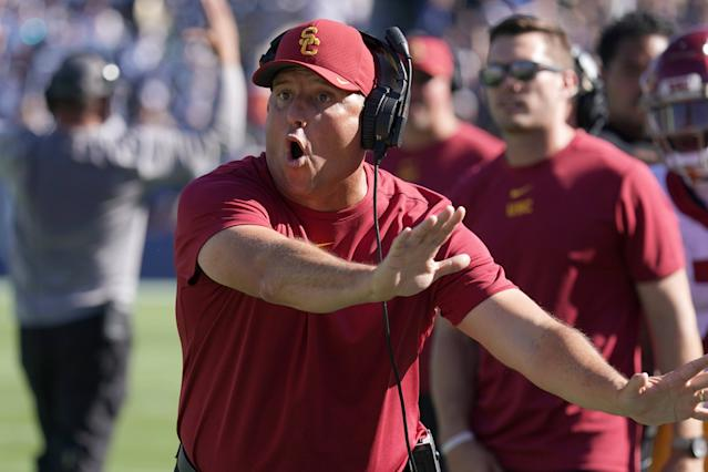 Sep 14, 2019; Provo, UT, USA; Southern California Trojans head coach Clay Helton reacts in the second half against the Brigham Young Cougars at LaVell Edwards Stadium. Mandatory Credit: Kirby Lee-USA TODAY Sports