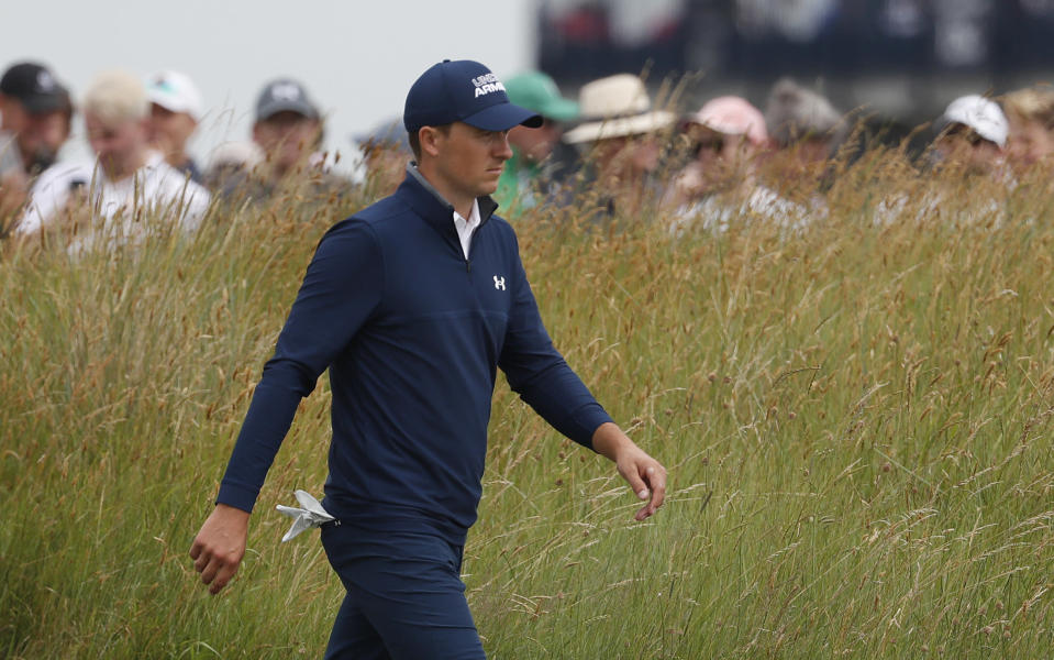 United States' Jordan Spieth walks to the 11th tee during the first round British Open Golf Championship at Royal St George's golf course Sandwich, England, Thursday, July 15, 2021. (AP Photo/Peter Morrison)
