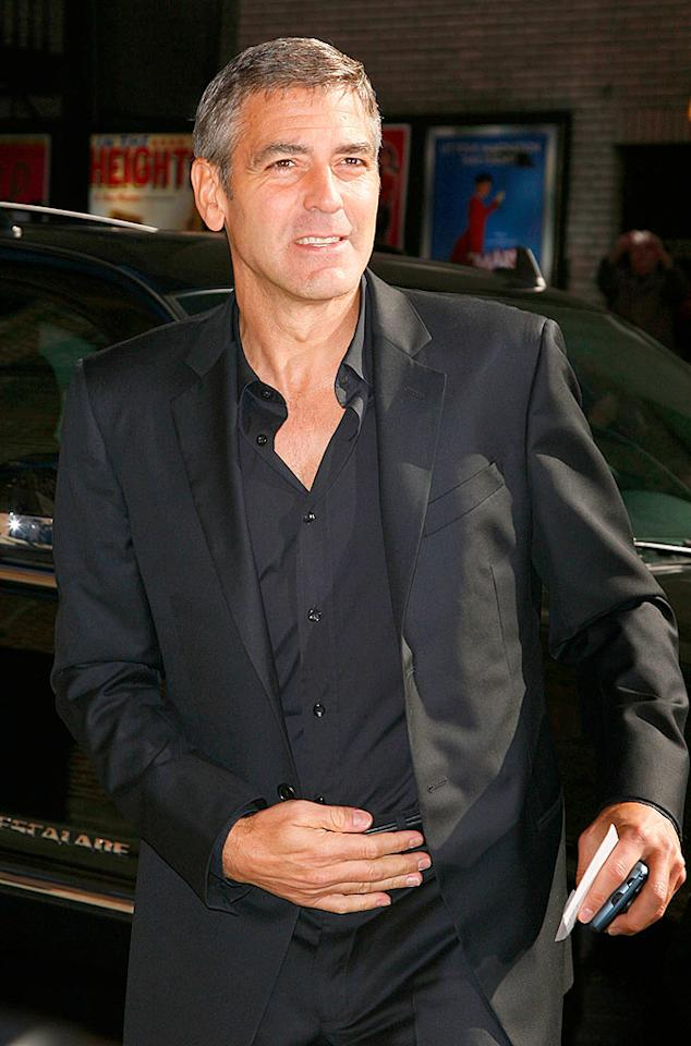"A debonair George Clooney stops by NYC's Ed Sullivan Theater for a taping of ""Late Show With David Letterman"" in order to champion his new football flick, ""Leatherheads."" CB/<a href=""http://www.splashnewsonline.com"" target=""new"">Splash News</a> - April 2, 2008"