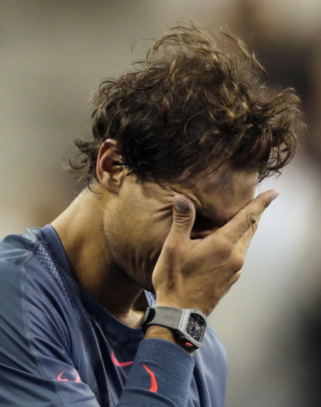 Rafael Nadal, of Spain, reacts after defeating Novak Djokovic, of Serbia, during the men's singles final of the 2013 U.S. Open tennis tournament, Monday, Sept. 9, 2013, in New York. (AP Photo/Charles Krupa)