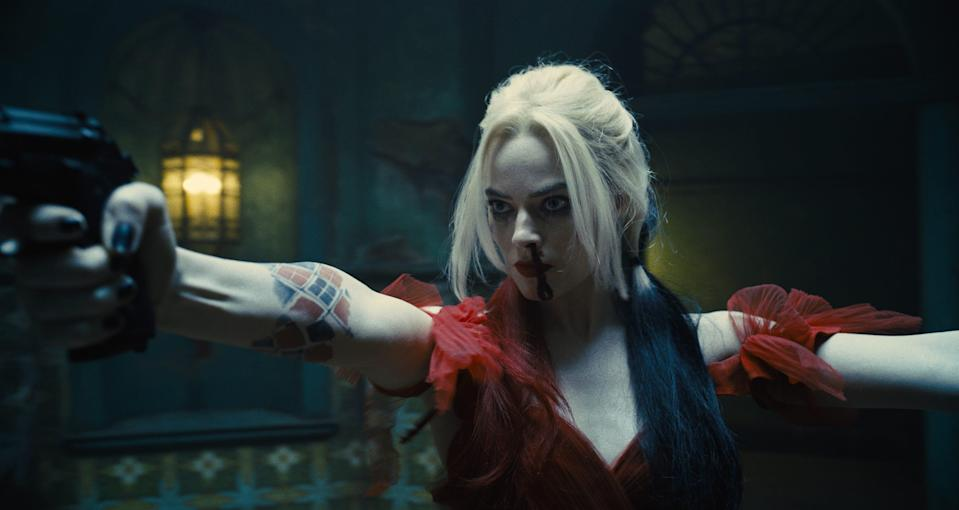 """Harley Quinn (Margot Robbie) goes guns-a-blazing again in """"The Suicide Squad."""""""
