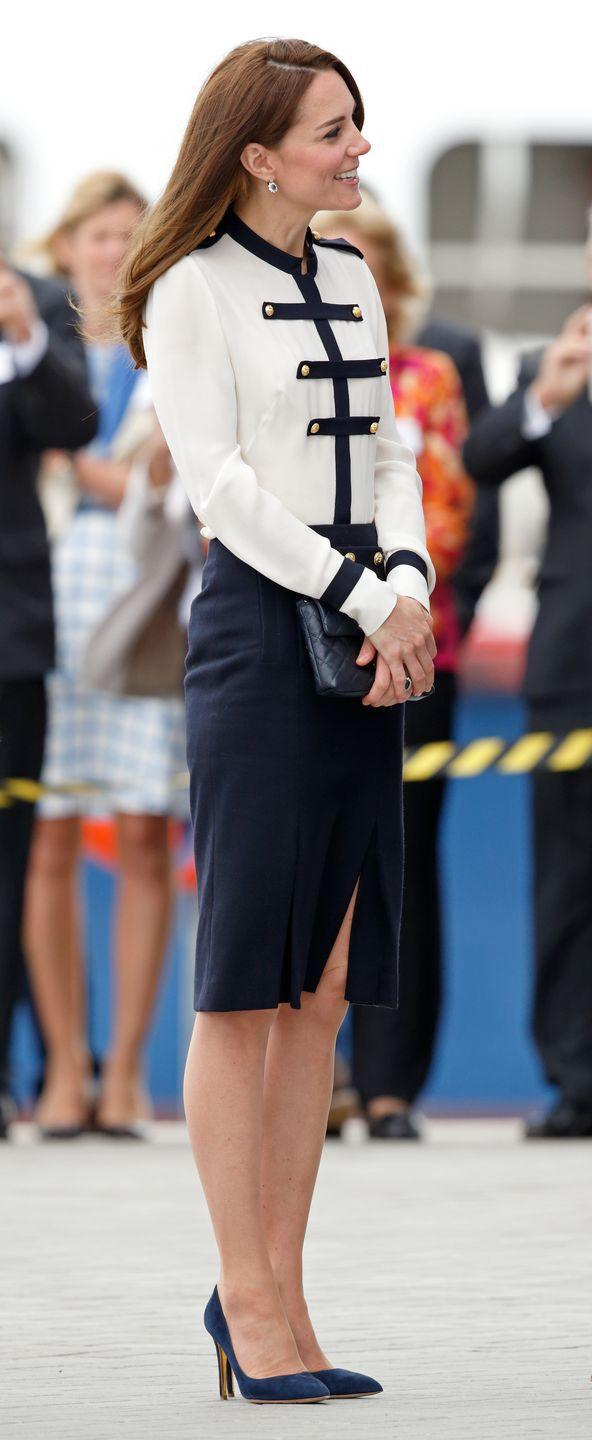 <p>Kate Middleton had a chic nautical moment during her visit to the 1851 Trust and Land Rover Bar. The Duchess sported Alexander McQueen separates yet again while meeting with those involved in the sailing projects she's slated to launch with the Trust. </p>