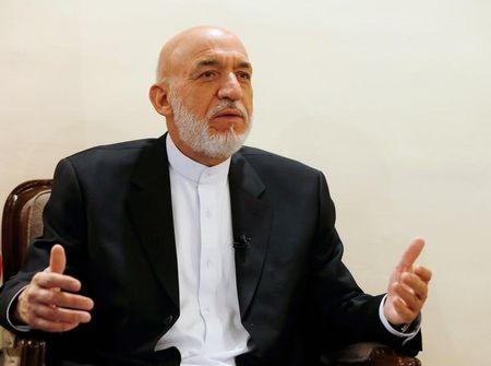 Former Afghan president Hamid Karzai speaks during an interview in Kabul