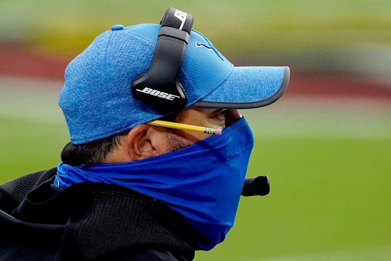 Lions coach Matt Patricia watches during the first half on Sunday, Sept. 27, 2020, in Glendale, Ariz.