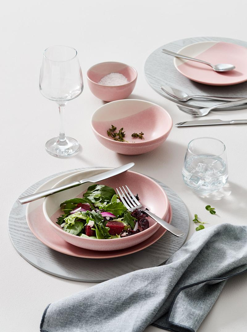 pink plates and dishes from Kmart
