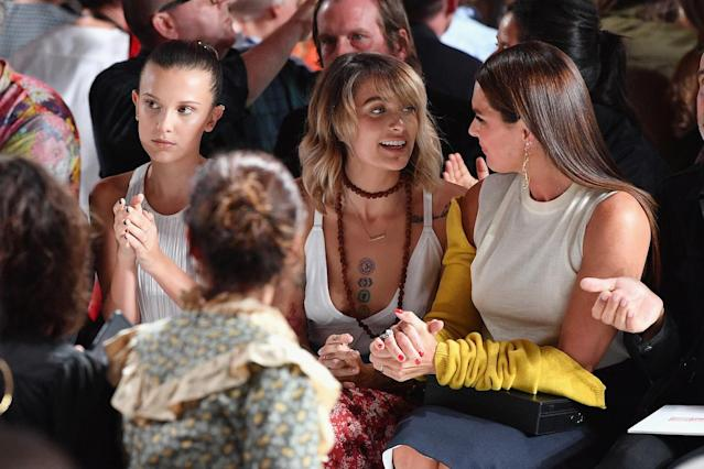 <p>Millie Bobby Brown, Paris Jackson and Brooke Shields attend the Calvin Klein Collection fashion show during New York Fashion Week on September 7, 2017 in New York City. (Photo by Dia Dipasupil/Getty Images) </p>