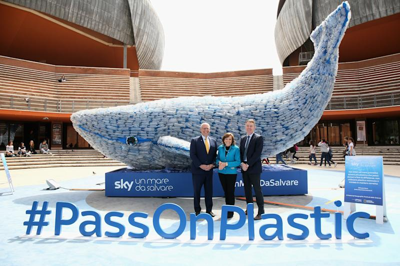 ROME, ITALY - APRIL 16: (L-R) Gary Knell, Syliva Earle and Jeremy Darroch attend the National Geographic Science Festival at Auditorium Parco Della Musica on April 16, 2018 in Rome, Italy. National Geographic commit $10 million to support Sky Ocean Ventures as they join forces to reduce plastics in the ocean. The collaboration will create the largest global media campaign to date focused on marine plastics. (Photo by Elisabetta Villa/Getty Images for National Geographic)