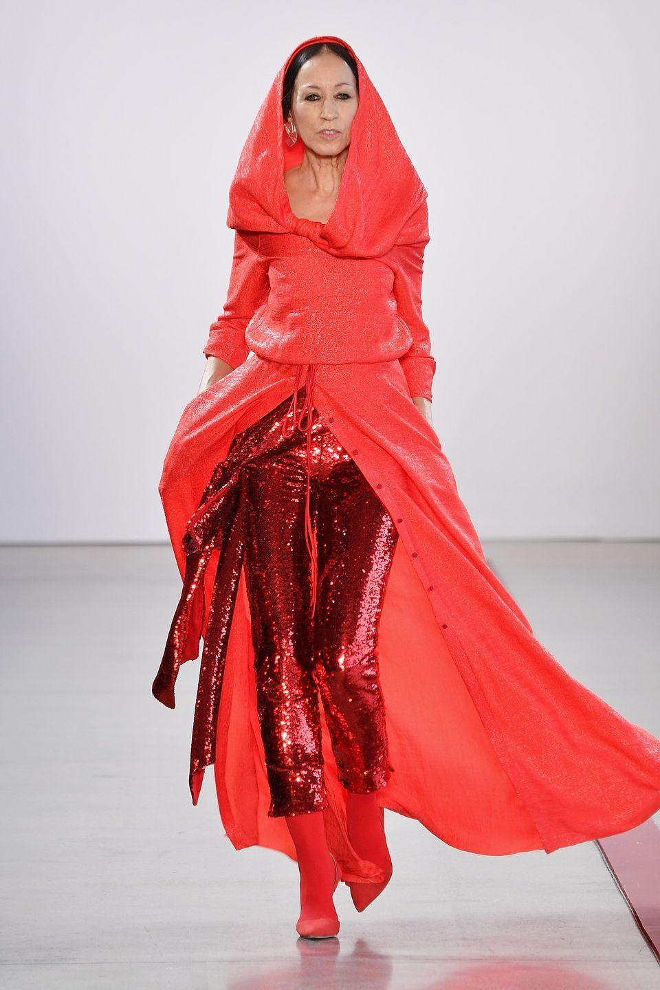 <p>Pat Cleveland was a trailblazer in the fashion industry in the '60s and '70s and continues to be today. Last year—at 68 years old!—she walked in the Hellessy show pictured here in this amazing red get-up. </p>
