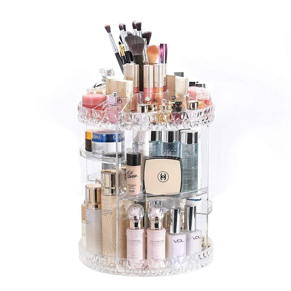 <p>For the ultimate makeup-lover, we present the <span>DreamGenius Makeup Organizer</span> ($25). It has so many hand compartments for makeup, skin-care items, and even brushes. </p>