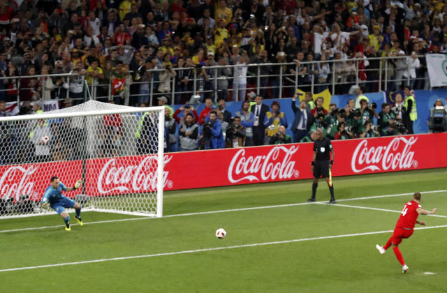 Eric Dier's penalty shootout winner against Colombia sent fans and broadcasters into hysterics in England. (AP)