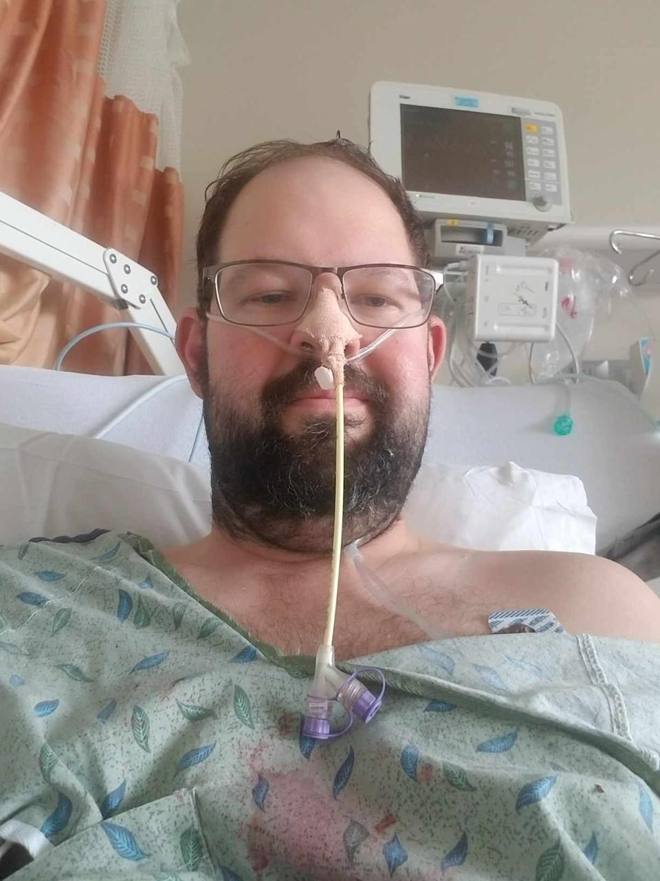 Dr. Daniel Lewis, seen here while hospitalized at Johnson City Medical Center, nearly died from coronavirus earlier this year.