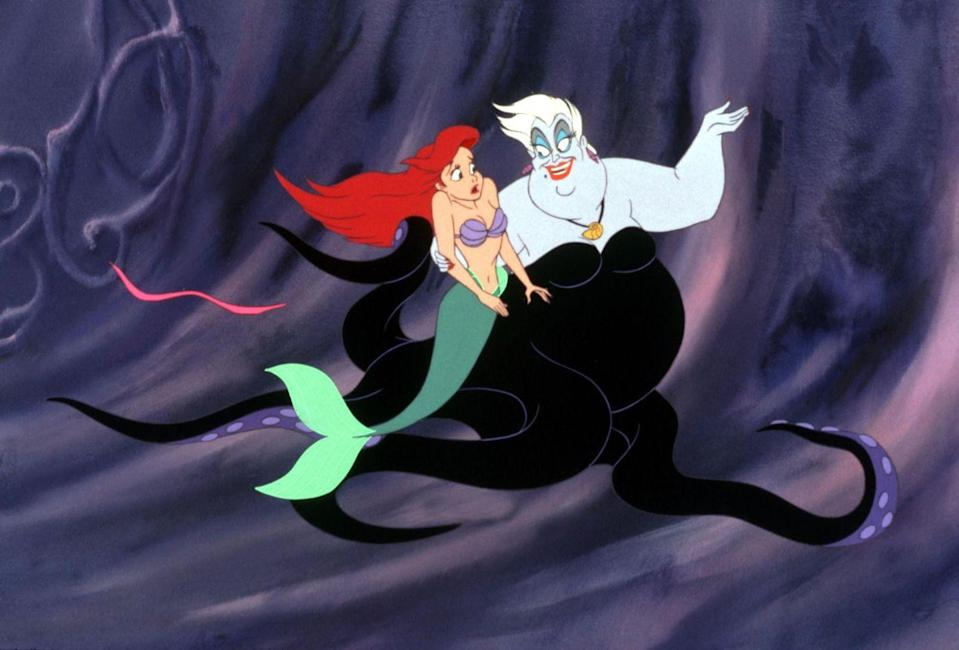 """<p>While it might be hard to craft Ursula's entire look, there are a few ways to achieve a similar affect. Pick up purple body paint, a sheer purple turtleneck, a sparkly black dress, and a wig. Don't forget her signature blue eyeshadow and red lips!</p><p><a class=""""link rapid-noclick-resp"""" href=""""https://www.amazon.com/Mehron-Makeup-Paradise-Paint-PURPLE/dp/B00VF2PZOS/?tag=syn-yahoo-20&ascsubtag=%5Bartid%7C2164.g.37050429%5Bsrc%7Cyahoo-us"""" rel=""""nofollow noopener"""" target=""""_blank"""" data-ylk=""""slk:SHOP PURPLE BODY PAINT"""">SHOP PURPLE BODY PAINT</a></p><p><a class=""""link rapid-noclick-resp"""" href=""""https://www.amazon.com/Dress-Population-Womens-Strapless-Sequin/dp/B07SSHL341/?tag=syn-yahoo-20&ascsubtag=%5Bartid%7C2164.g.37050429%5Bsrc%7Cyahoo-us"""" rel=""""nofollow noopener"""" target=""""_blank"""" data-ylk=""""slk:SHOP BLACK SEQUIN DRESSES"""">SHOP BLACK SEQUIN DRESSES</a></p><p><a class=""""link rapid-noclick-resp"""" href=""""https://www.amazon.com/Fun-Costumes-Deluxe-Womens-Standard/dp/B084JG7NJG/?tag=syn-yahoo-20&ascsubtag=%5Bartid%7C2164.g.37050429%5Bsrc%7Cyahoo-us"""" rel=""""nofollow noopener"""" target=""""_blank"""" data-ylk=""""slk:SHOP URSULA WIGS"""">SHOP URSULA WIGS</a></p>"""