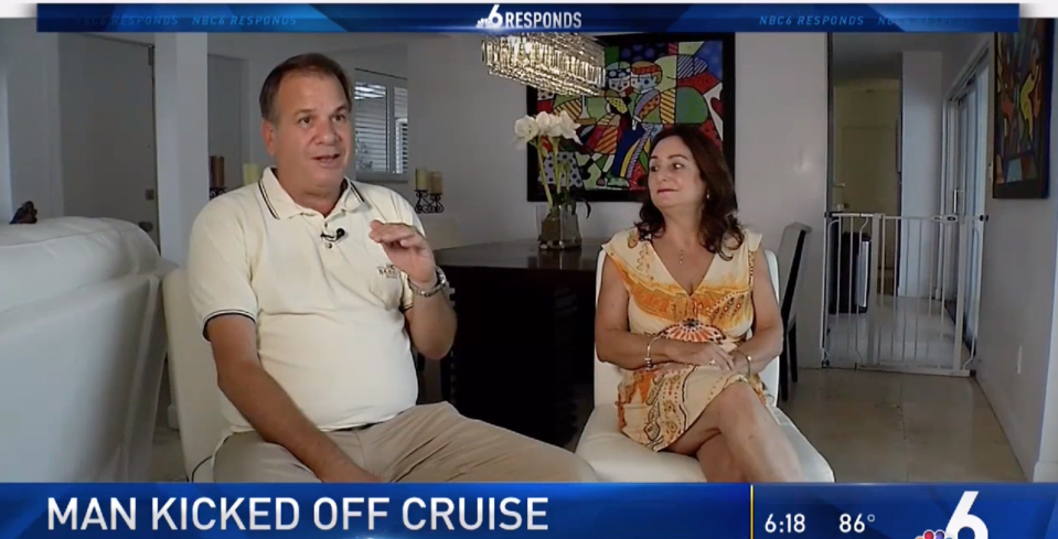 A man claims he was kicked off a cruise and never gotten the chance to appeal to the captain. (Photo: NBC Miami)