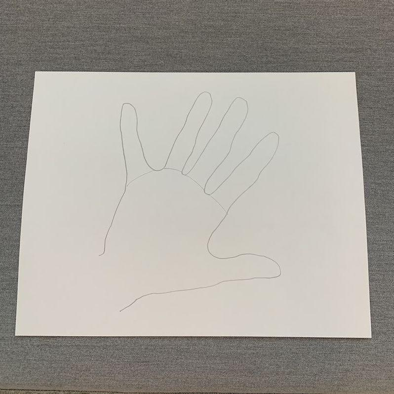 "<p>Yay! You've traced your hand. Now draw a line to separate your ""feathers"" from the body of your turkey. </p>"