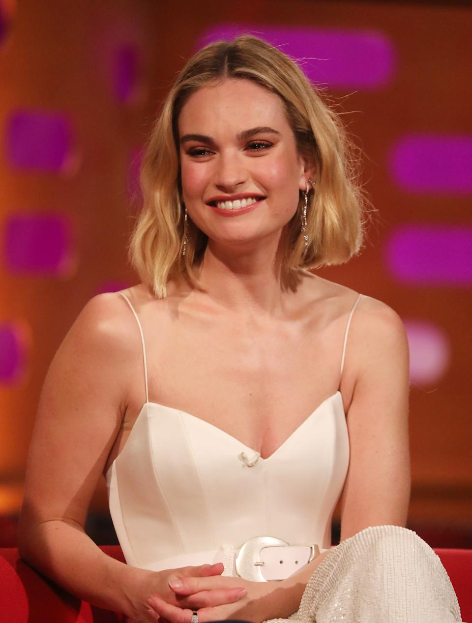 Lily James during the filming for the Graham Norton Show at BBC Studioworks 6 Television Centre, Wood Lane, London, to be aired on BBC One on Friday evening.