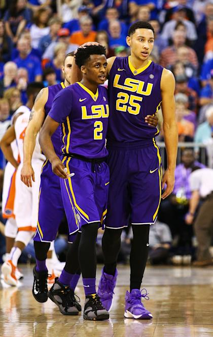 GAINESVILLE, FL - JANUARY 09: Ben Simmons #25 of the LSU Tigers hugs Antonio Blakeney #2 during the game against the Florida Gators at Stephen C. O'Connell Center on January 9, 2016 in Gainesville, Florida.  (Photo by Rob Foldy/Getty Images)