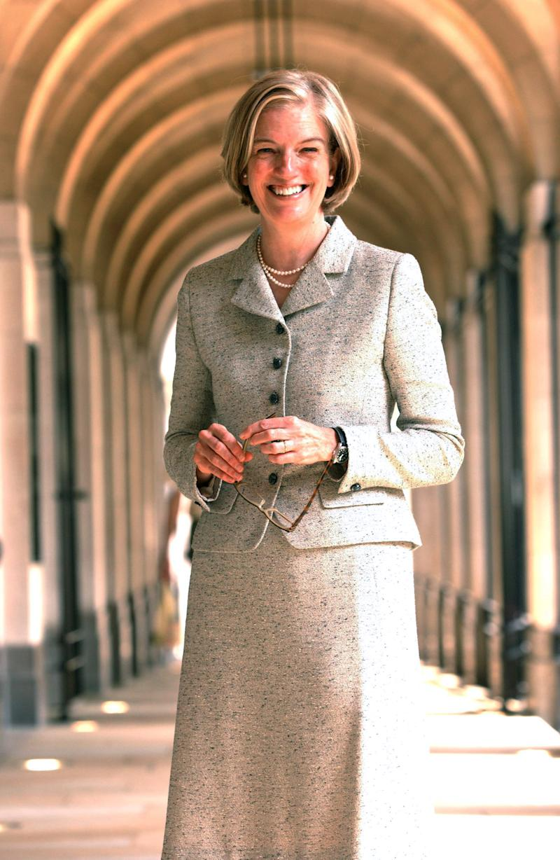 """This undated image made available by NewsCast shows Pearson chief executive Marjorie Scardino in London. Pearson PLC, the U.K. publisher and education company, said Wednesday Oct. 3, 2012 that chief executive Marjorie Scardino has decided to step down. Scardino, aged 65, has been chief executive since 1997 — managing the company through a time of significant change in the media world. She led Pearson's transformation from a diverse conglomerate to a """"learning company"""" and helped raise its profile in the United States. The publisher of the Financial Times and Penguin Group books said Wednesday it expects more than half its revenues to come from digital and services businesses for the first time this year.  (AP Photo/NewsCast. HO)"""