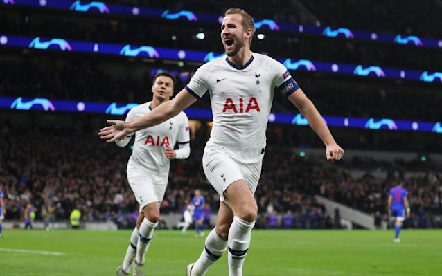 Harry Kane of Tottenham Hotspur celebrates after scoring his team's second goal during the UEFA Champions League group B match between Tottenham Hotspur and Olympiacos - Getty Images Europe
