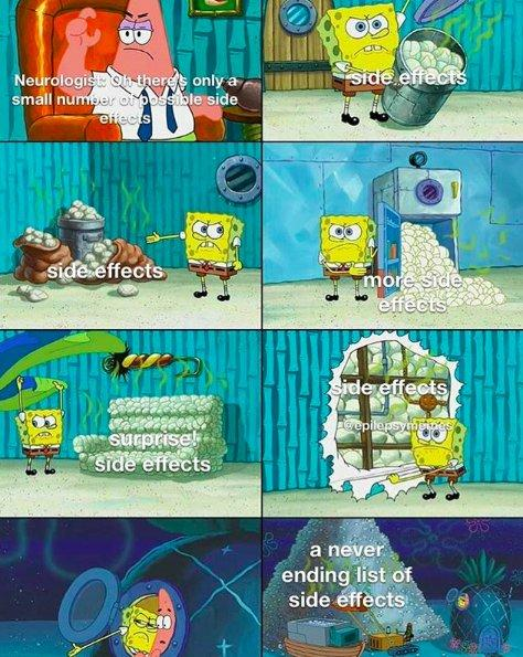 spongebob meme showing different piles of side effects